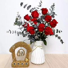 Red Roses Ceramic Pot and Couple Idol