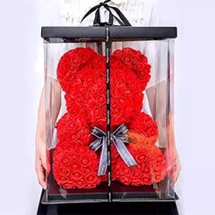 Red Artificial Roses Teddy Bear