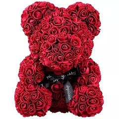 Maroon Artificial Roses Teddy Bear