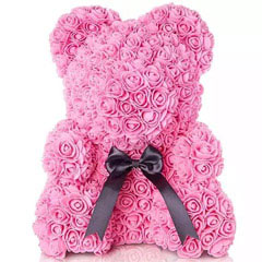 Pink Artificial Roses Teddy