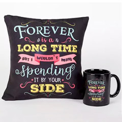 Forever By Your Side Printed Cushion and Mug Combo - Valentine Gifts to Dubai