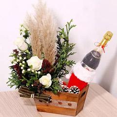 Flower Arrangement And Sparkling Juice