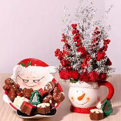 Ceramic Mug Flower Arrangement And Chocolates