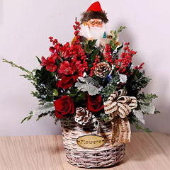 Santa With Flowers