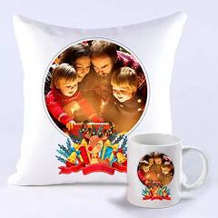 Personalised Joyful Holidays Cushion And Mug