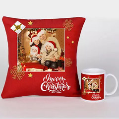 Personalised Xmas Greetings Cushion And Mug