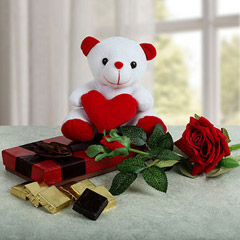 Heart Teddy N Chocolate Combo