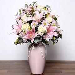 Pastel Coloured Mixed Flowers in Vase
