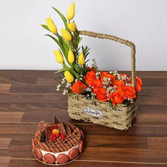 Orange Roses and Yellow Tulips Basket With Cake