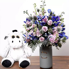 Matthiola and Eryngium In Vase With Teddy Bear