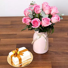 Delicate Pink Roses and Mono Cake