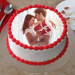 Cream Drop Love Photo Cake
