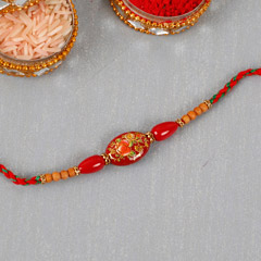 Painted Red Beads Rakhi