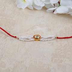 Oval stone And Pearl Rakhi
