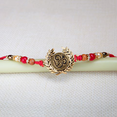 Beautiful Om Leaf Design Rakhi