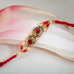 Pretty Golden And Red Rakhi