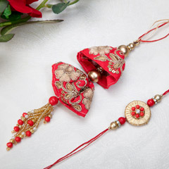 Exquisite Red Lumba Rakhi Set