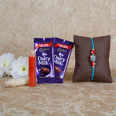 Blue-Red Rakhi Chocolates Combo