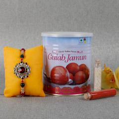 Kundan Rakhi With Gulab Jamun