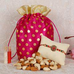 Mixed Dry Fruits Potli And Rakhi Combo