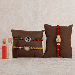 Set Of 3 Glittering Rakhis