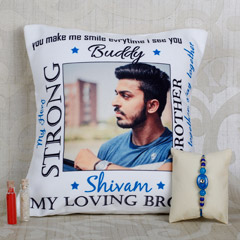 Rakhi And Personalized Cushion Combo