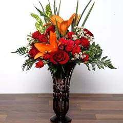 Asiatic Lilies and Roses In Vase