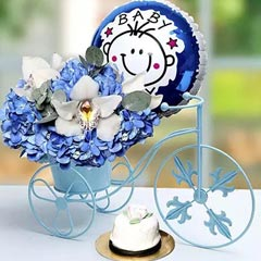 Baby Boy Flower Arrangement and Cake
