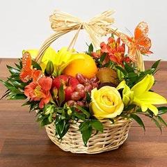 Basket Arrangement Of Fresh Flowers and Fruits