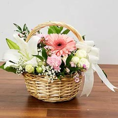 Basket Arrangement Of Gorgeous Flowers