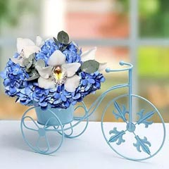 Blue N White Flowers In Cycle Basket