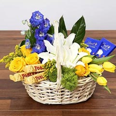 Yellow and Blue Floral Basket With Chocolates