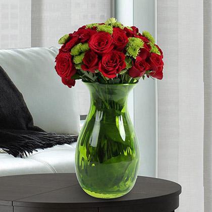 Roses N Chrysanthemums Vase Arrangement