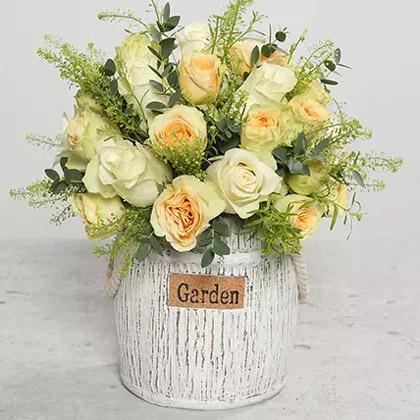 Roses In Designer Ceramic Vase