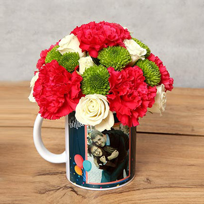 Carnations and Roses in Birthday Mug