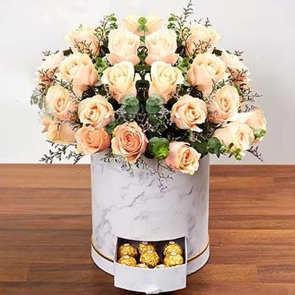 Serene Peach Roses Arrangement