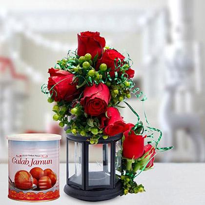 Alluring Roses Arrangement and Gulab Jamun Combo