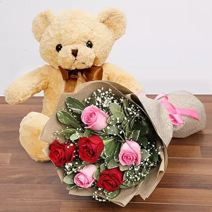 Charming Roses and Teddy Combo