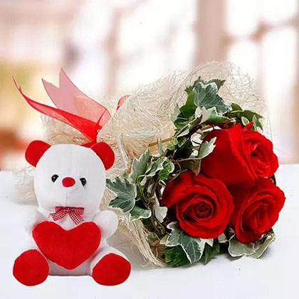 Red Roses and White Teddy Combo