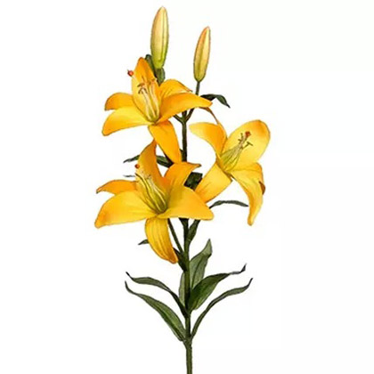 2 Stems of Artificial Yellow Stargazer Lily