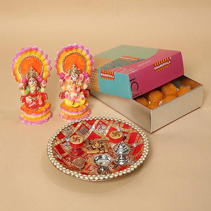Motichoor Laddoo and Pooja Thali Combo