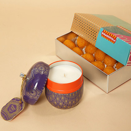 Motichoor Laddoo and Decorative Diya Combo