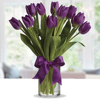 20 Purple Tulip Arrangement