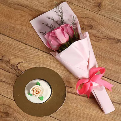 Pink Roses Bouquet and Mono Cake Combo