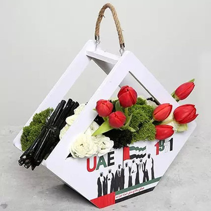 Red Tulips in Special UAE Day Wooden Base