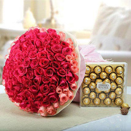 Pink Roses and Ferrero Rocher Combo