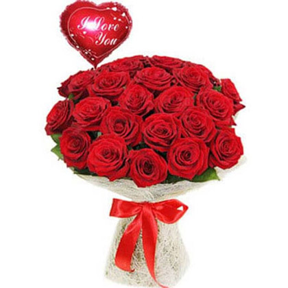 Red Roses and I Love You Balloon Combo