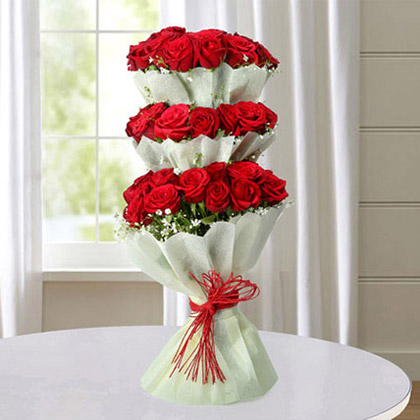 Tower of Red Roses Bouquet