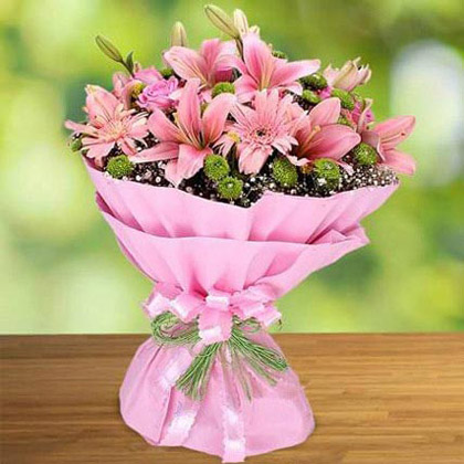 Pink Roses and Lilies Bouquet