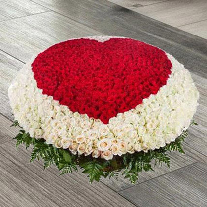 White and Red Roses Heart Arrangement in Cane Basket